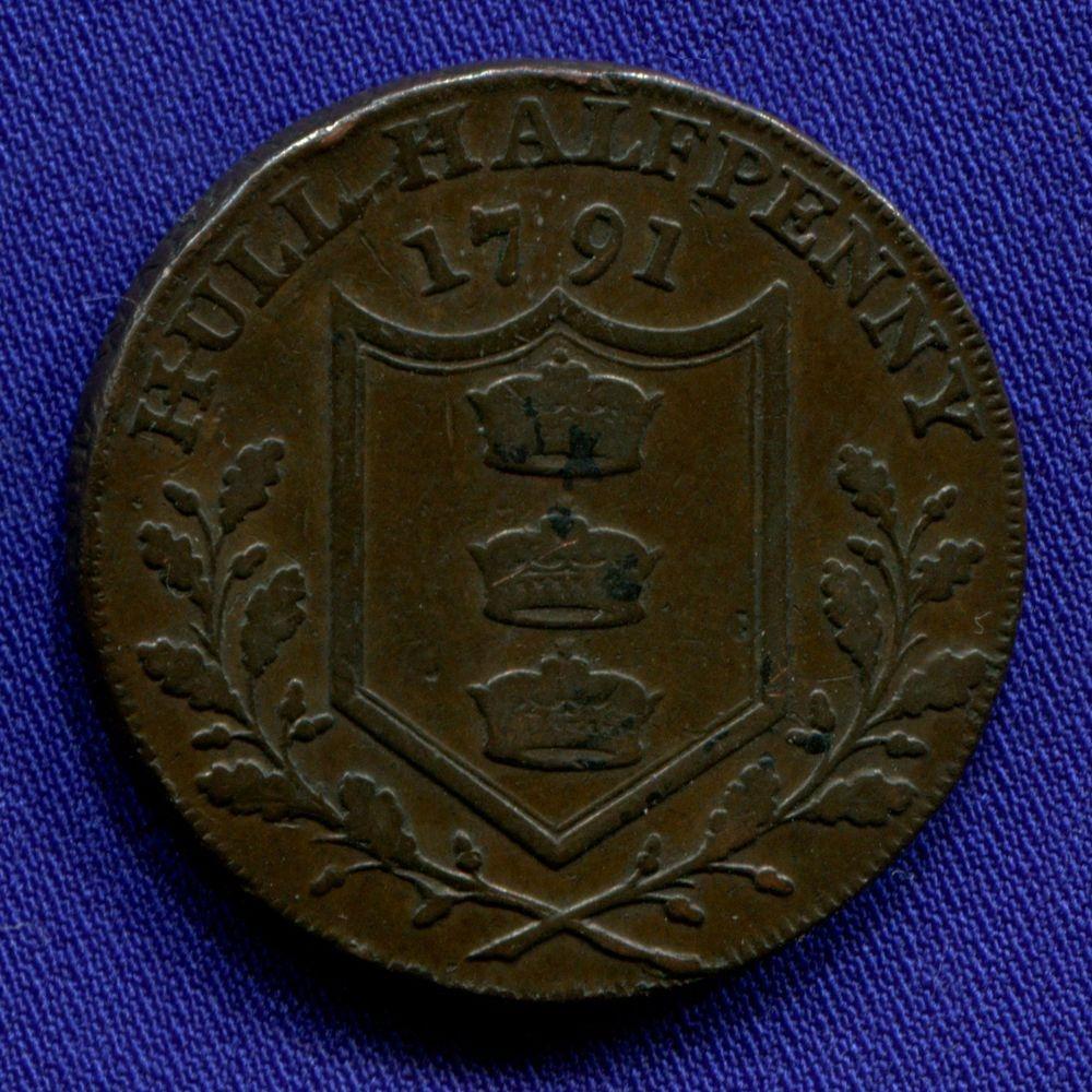 Англия/Халл 1/2 пенни 1791 VF  - 1