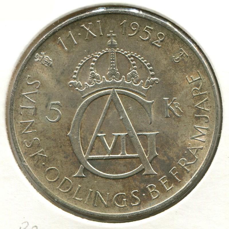 Швеция 5 крон 1952_ND #828 aUNC - 1