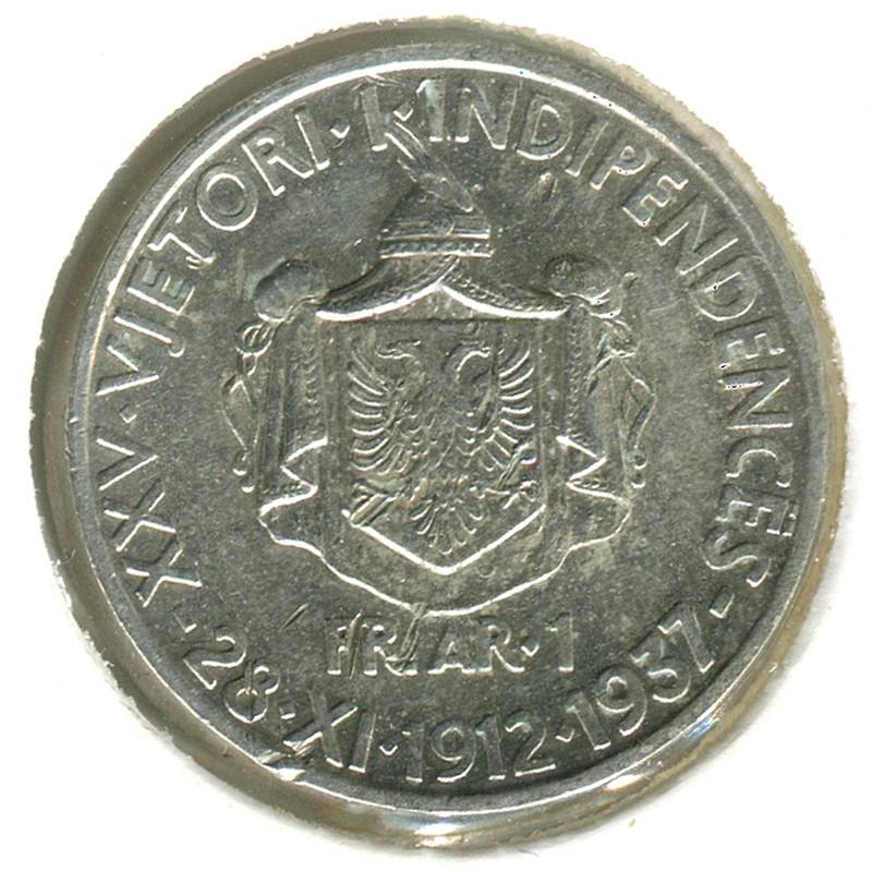 Албания 25-летие независимости 1 франг ари 1937 #18 XF - 1