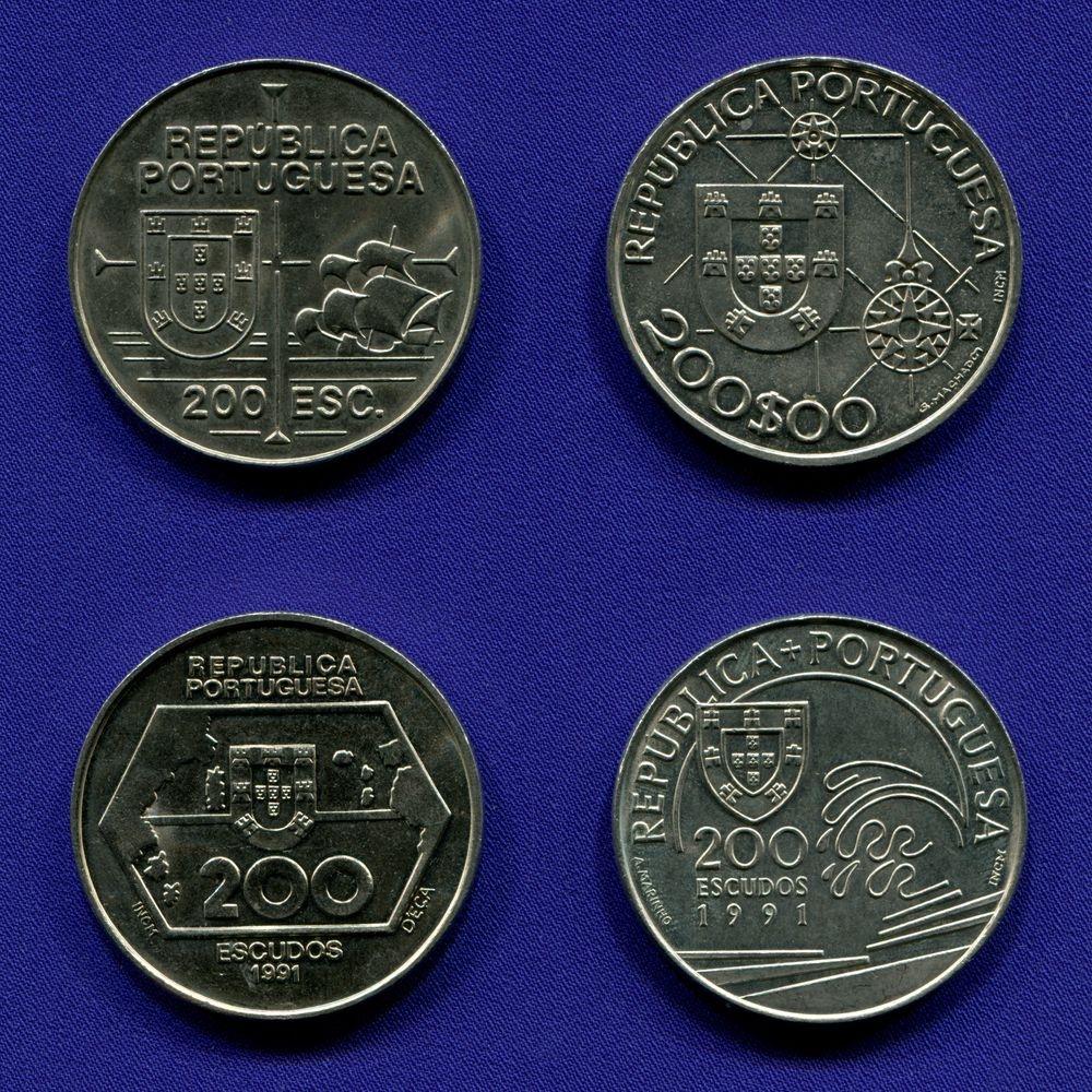 "Набор монет Португалии 200 эскудо 1991 - 1992 aUNC  III серия ""Открытия"" - 1"