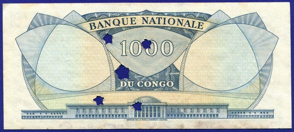 Конго 1000 франков 1964 XF - 1