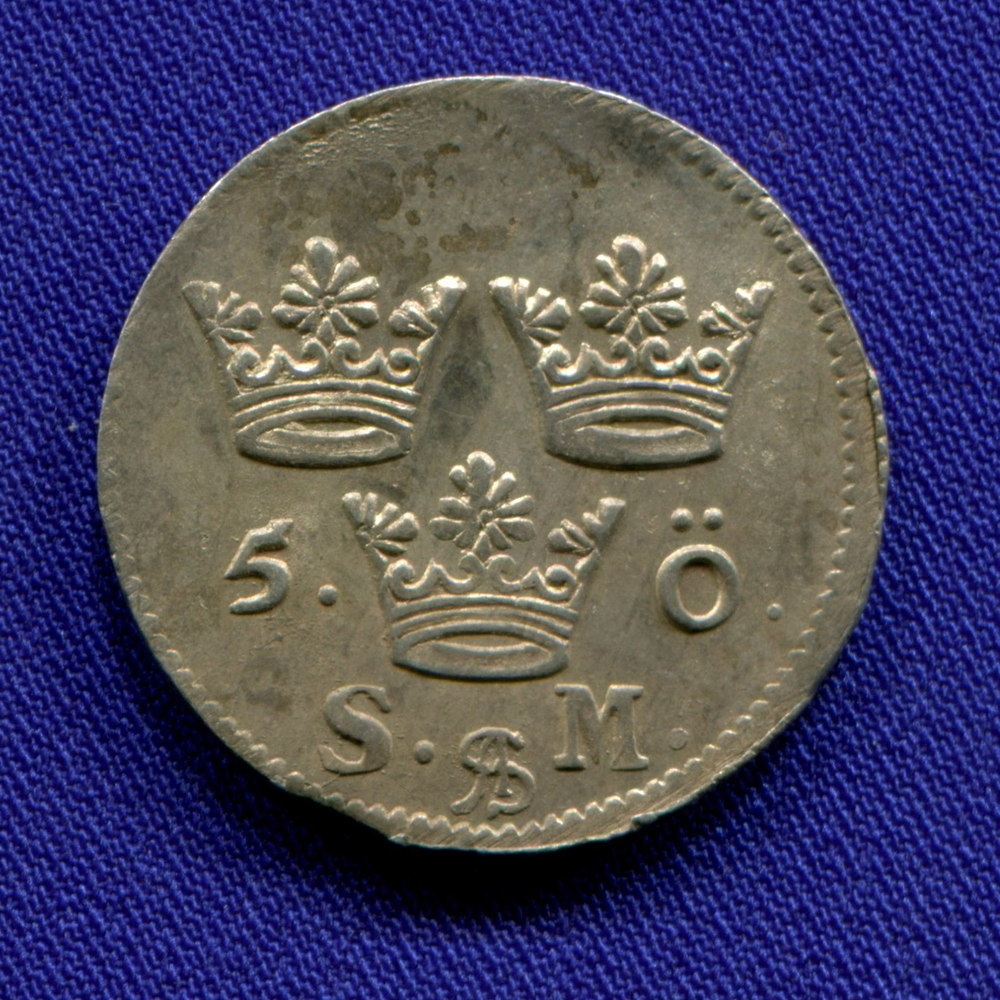 Швеция 5 эйре 1694 XF+  - 1
