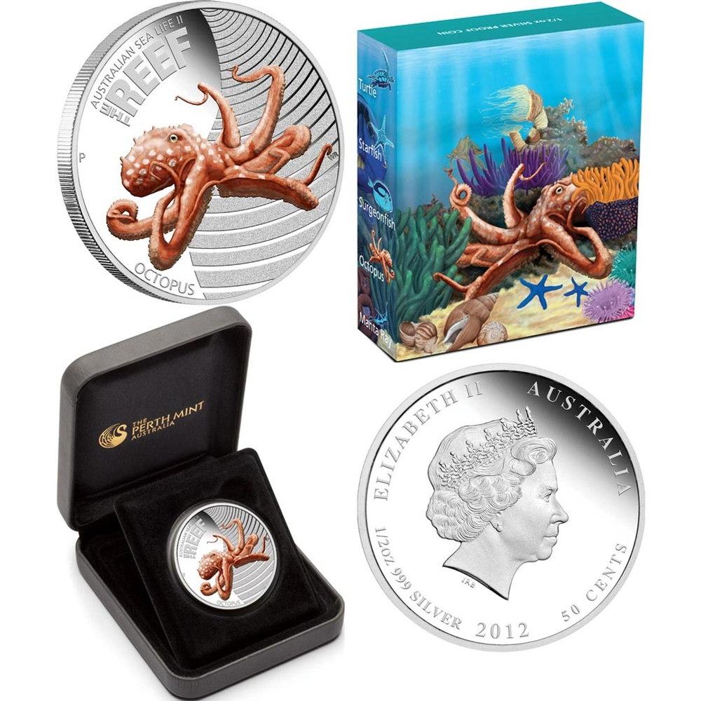 Австралия 50 центов 2012 Proof Осьминог  - 2