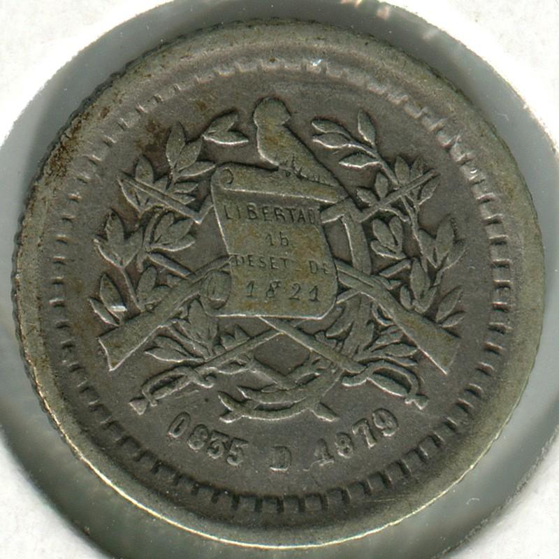 Гватемала 1/2 реала 1879 #152 F - 1