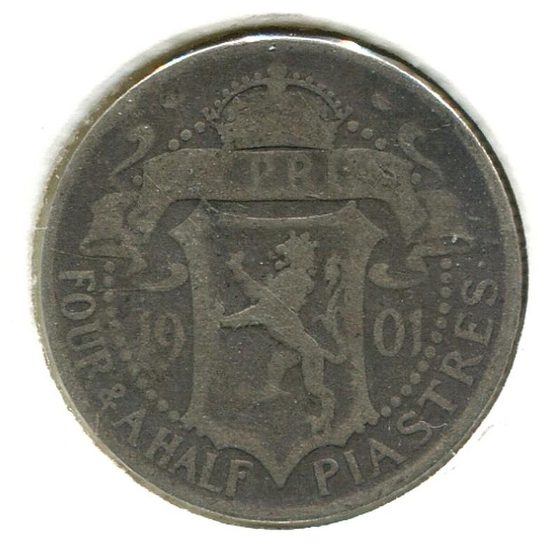 Кипр 4.1/2 пиастра 1901 #5 F - 1