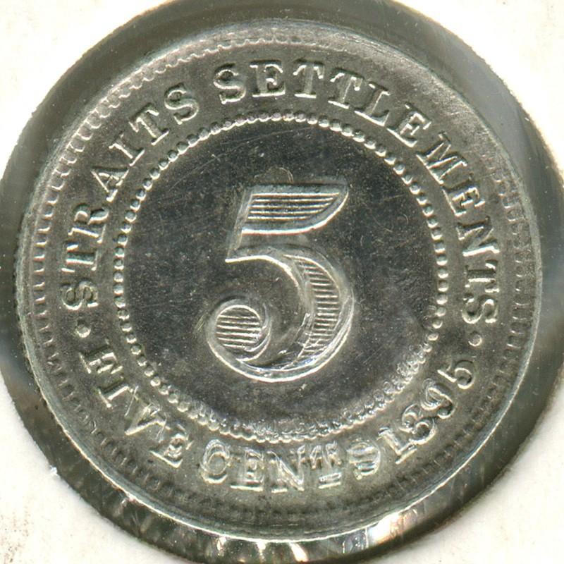 Стрейтс Сетлментс 5 центов 1895 #10 aUNC - 1