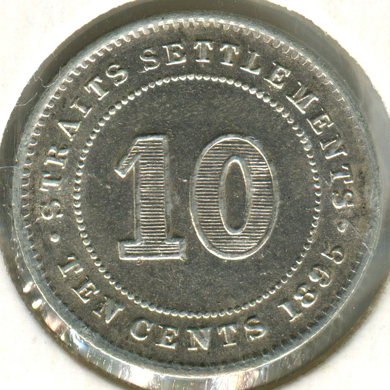 Стрейтс Сетлментс 10 центов 1895 #11 aUNC - 1