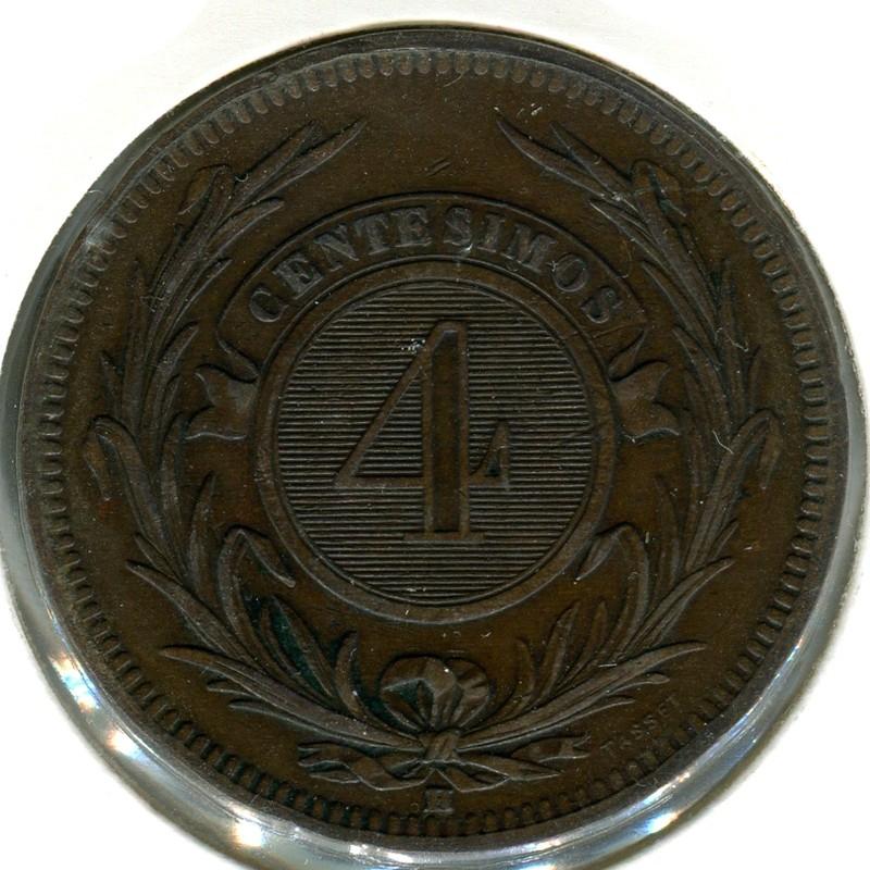 Уругвай 4 чентезимо 1869 #13 XF - 1