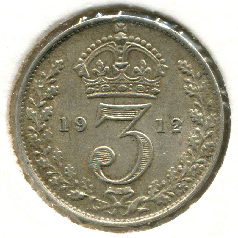 Англия 3 пенса 1912 SP 4018 XF - 1