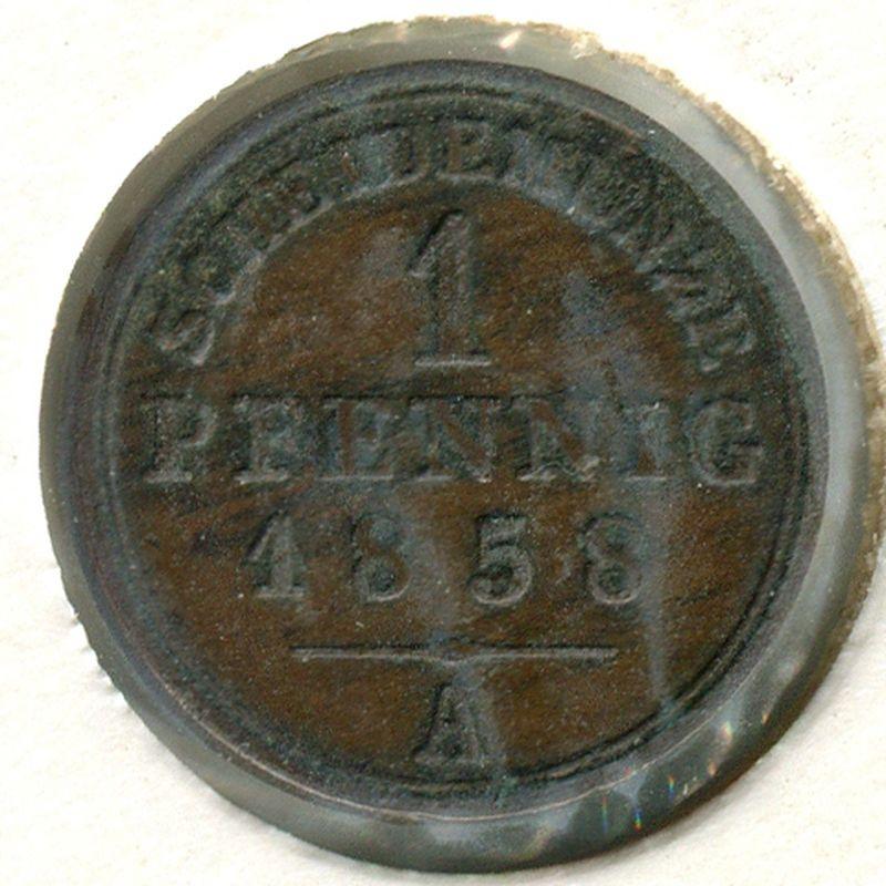 Германия Шаумбург-Липпе 1 пфенниг 1858 #37 - 1