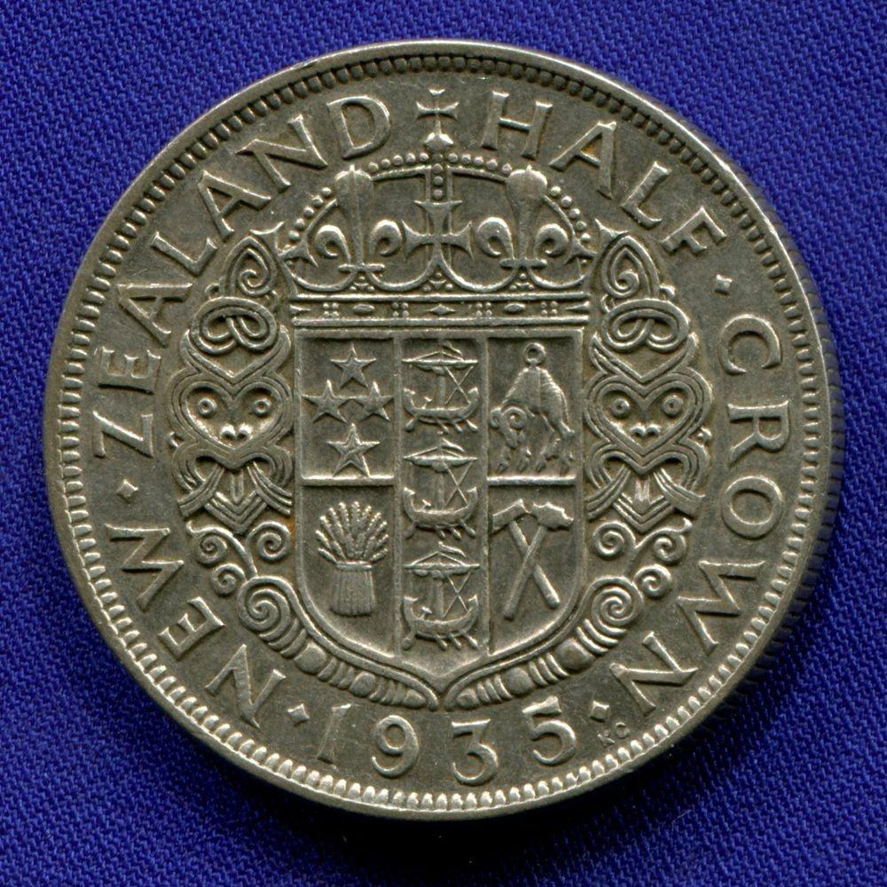 Новая Зеландия 1/2 кроны 1935 VF  - 1