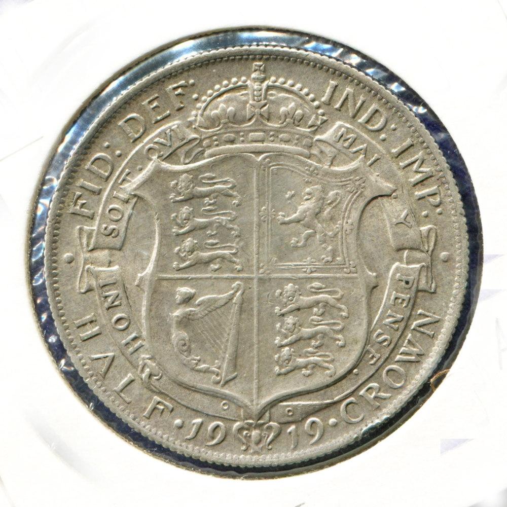 Англия 1/2 кроны 1919 GVF  - 1