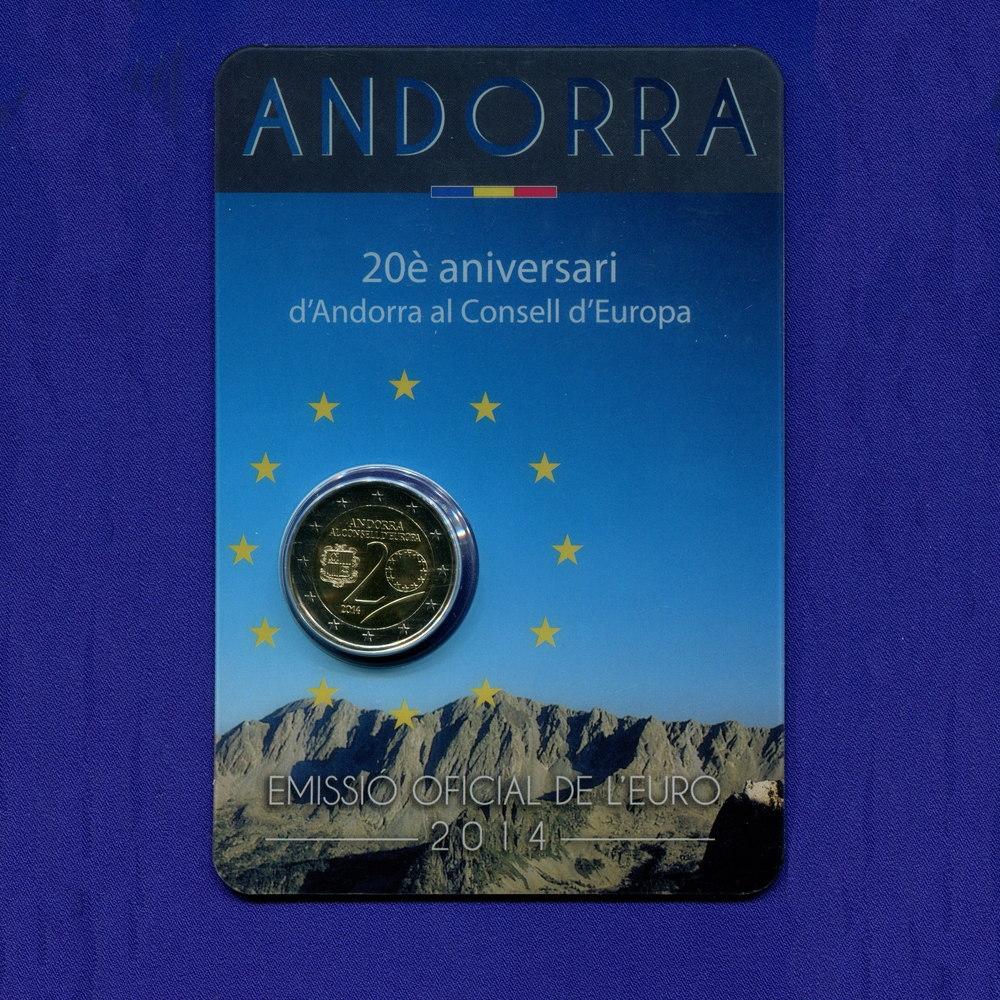 Андорра 2 евро 2014 UNC 20 лет вступления в Совет Европы  - 2