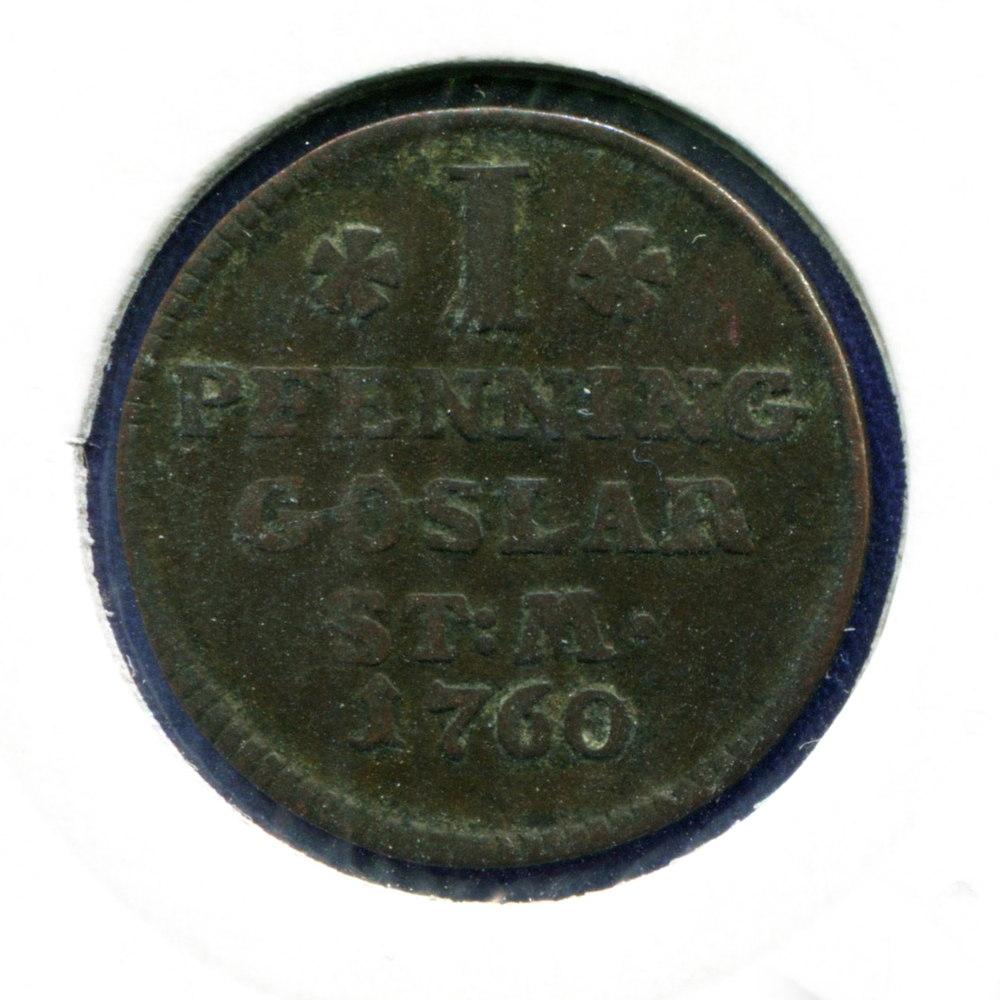 Германия/Гослар 1 пфенниг 1760 GF  - 1
