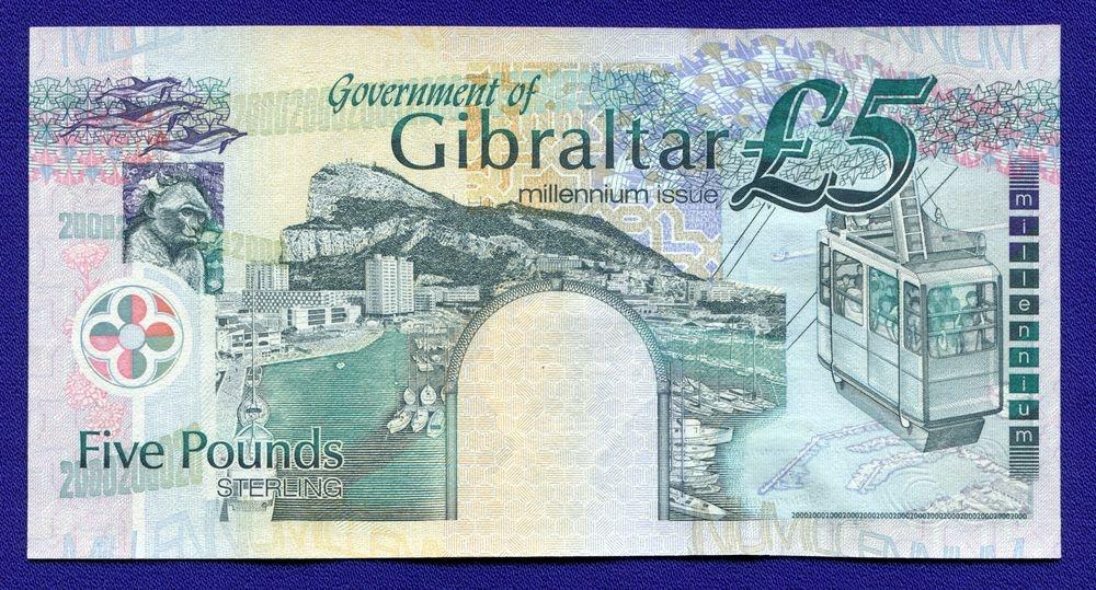 Гибралтар 5 фунтов 2000 UNC Pick 29 - 1