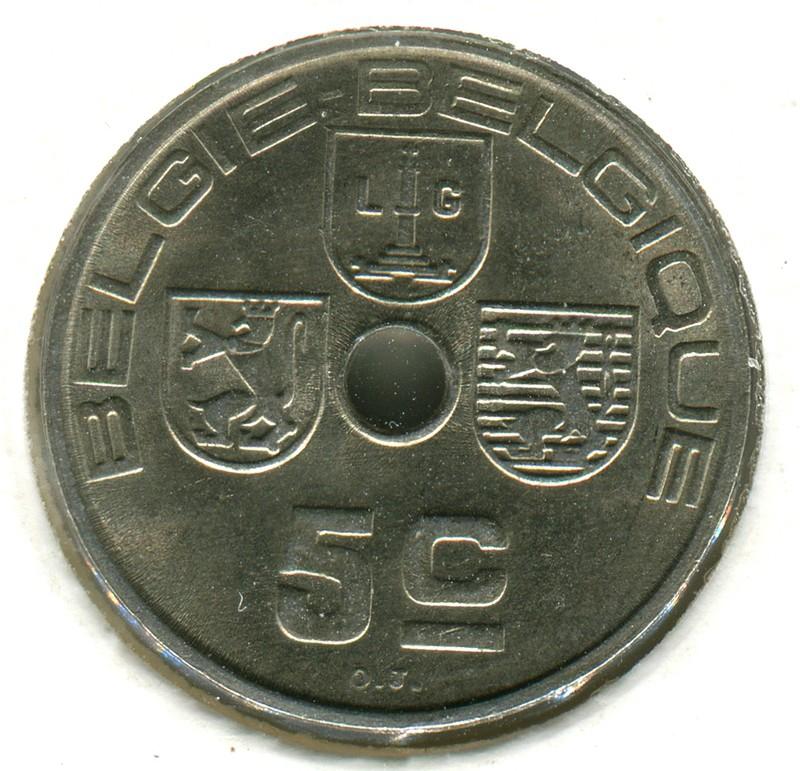 Бельгия 5 сантимов 1940 #111 aUNC - 1