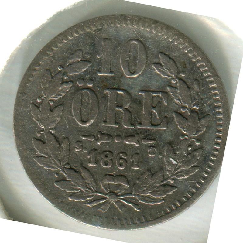 Швеция 10 Эйре 1864 #710 F - 1